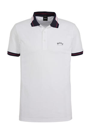 regular fit polo met contrastbies en contrastbies wit