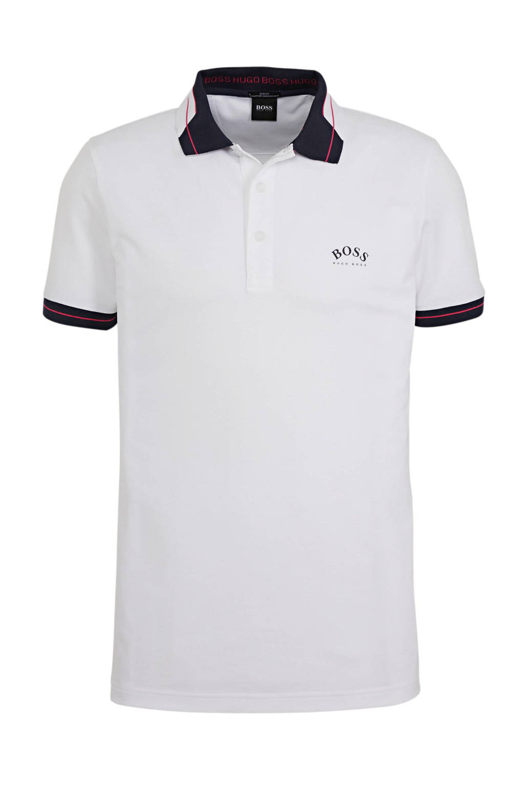 BOSS Athleisure regular fit polo met contrastbies wit, Wit/donkerblauw/rood