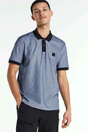 gemêleerde regular fit polo Phillipson met contrastbies en contrastbies donkerblauw