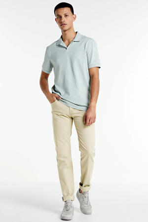 gemêleerde slim fit polo grijs