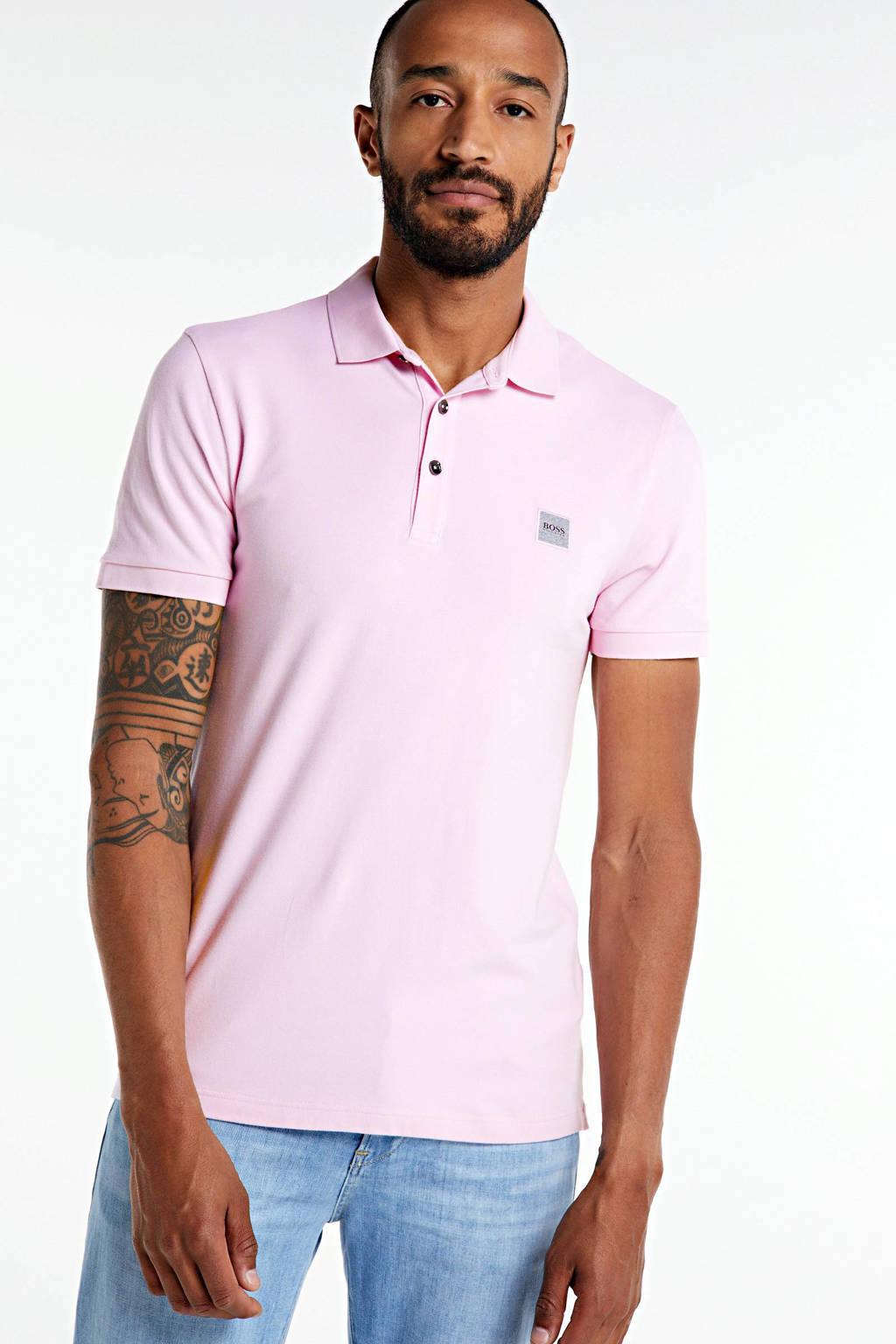 BOSS Casual slim fit polo roze, Roze
