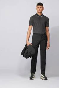 BOSS Menswear gemêleerde regular fit polo Pitton met contrastbies zwart, Zwart
