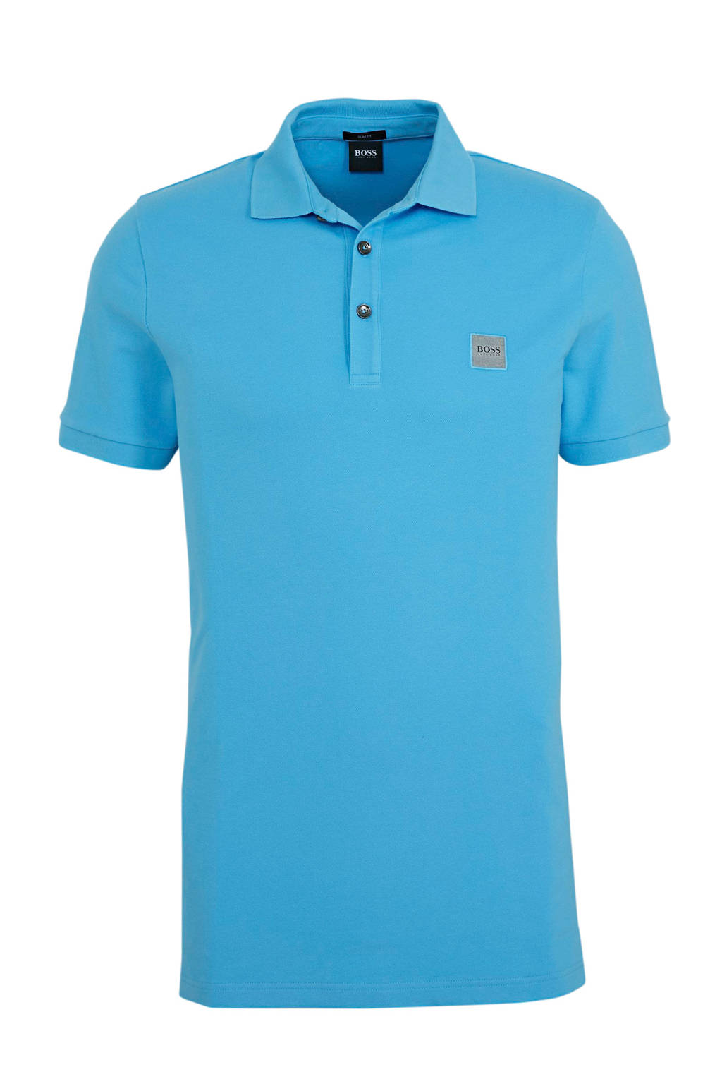BOSS Casual slim fit polo lichtblauw, Blauw
