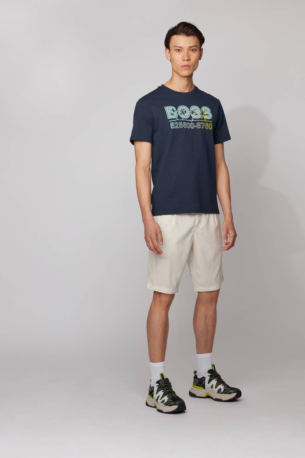 BOSS Casual T-shirt met printopdruk donkerblauw/blauw, Donkerblauw/blauw