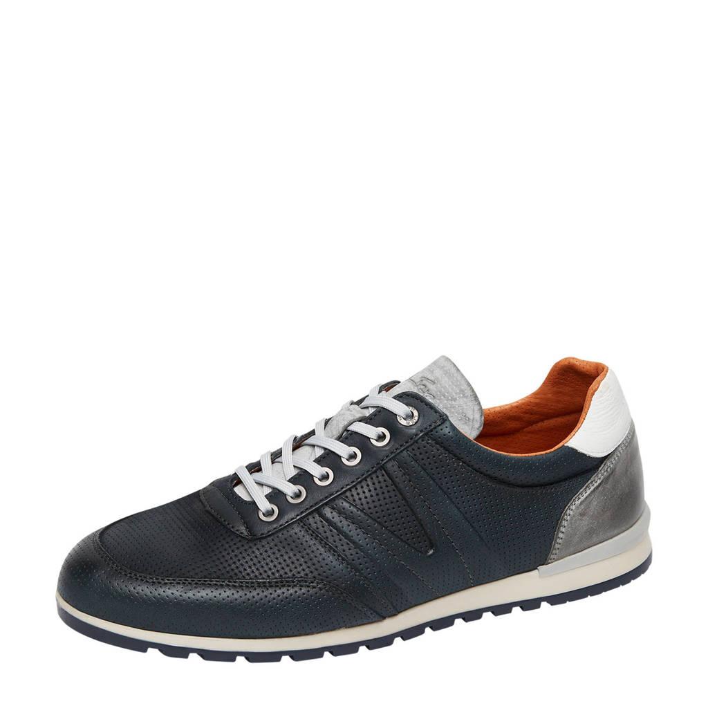 Van Lier Anzano  leren sneakers donkerblauw, Donkerblauw