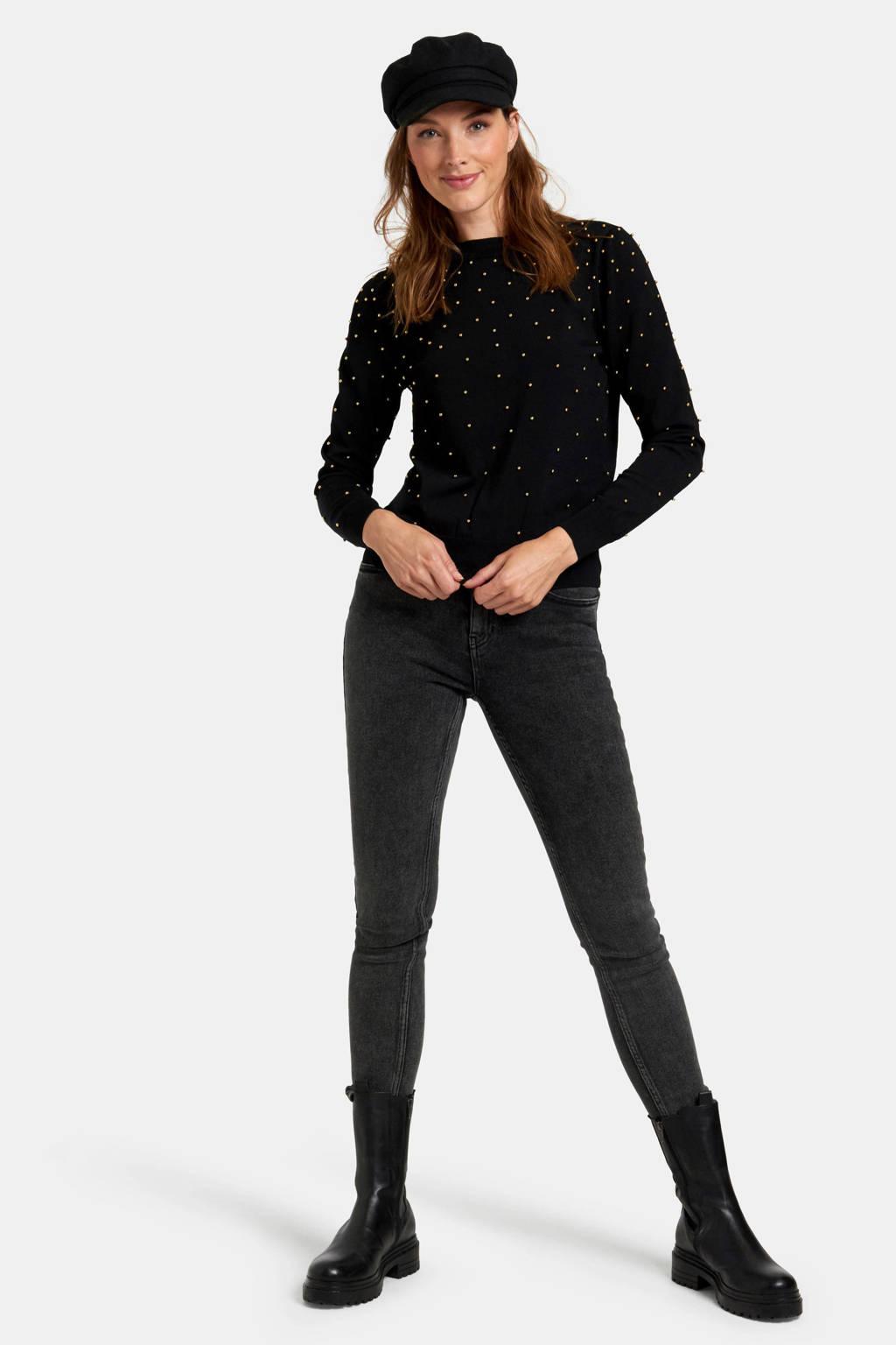 Eksept by Shoeby trui met studs zwart, Zwart