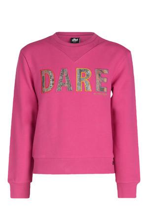 trui met tekst en patches roze/geel/rood