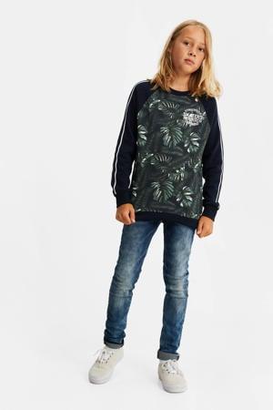 sweater met contrastbies multicolor