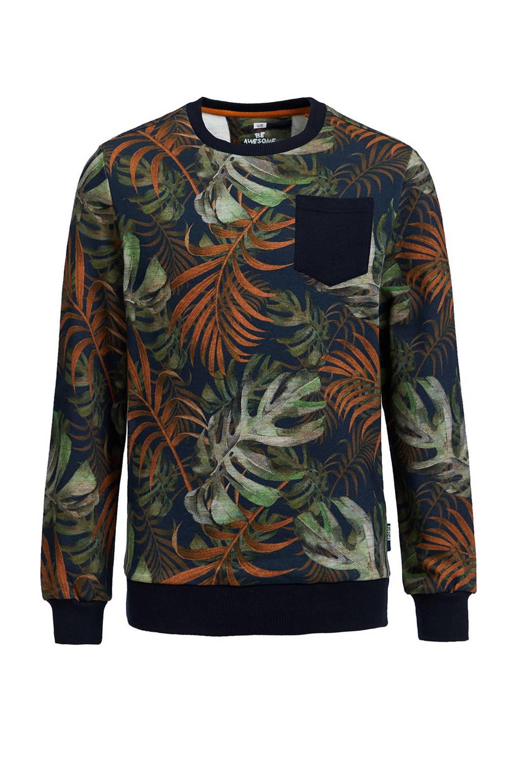 WE Fashion sweater met bladprint multicolor, Multicolor