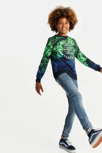 WE Fashion sweater met bladprint groen/blauw/wit, Groen/blauw/wit