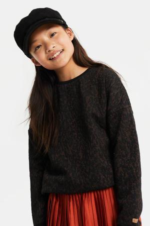 regular fit sweater met dierenprint en borduursels zwart/bruin