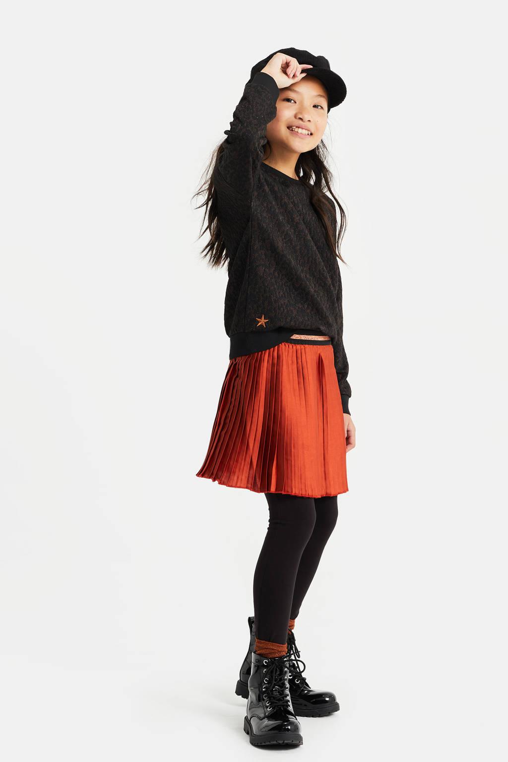 WE Fashion regular fit sweater met dierenprint en borduursels zwart/bruin, Zwart/bruin