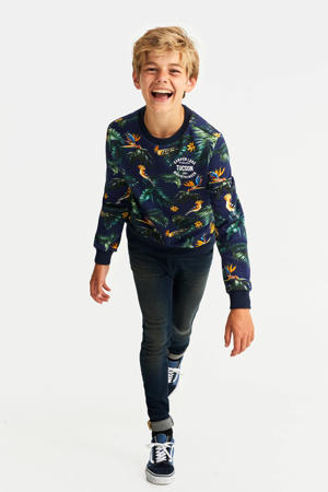 sweater met all over print multicolor