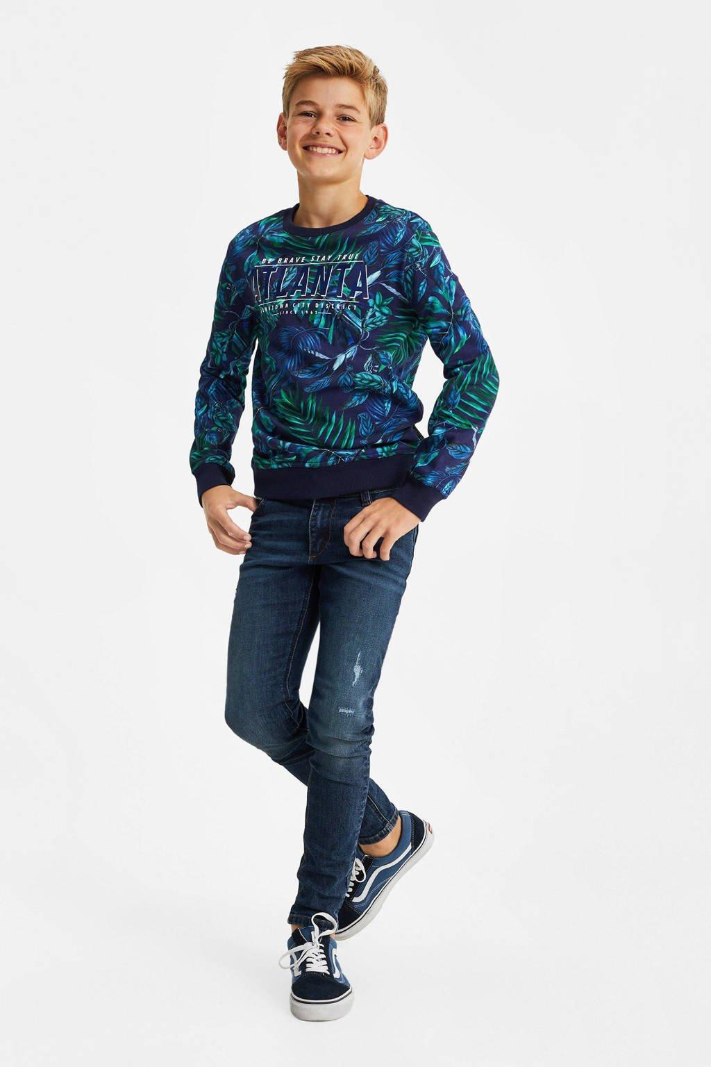 WE Fashion sweater met bladprint blauw/groen, Blauw/groen