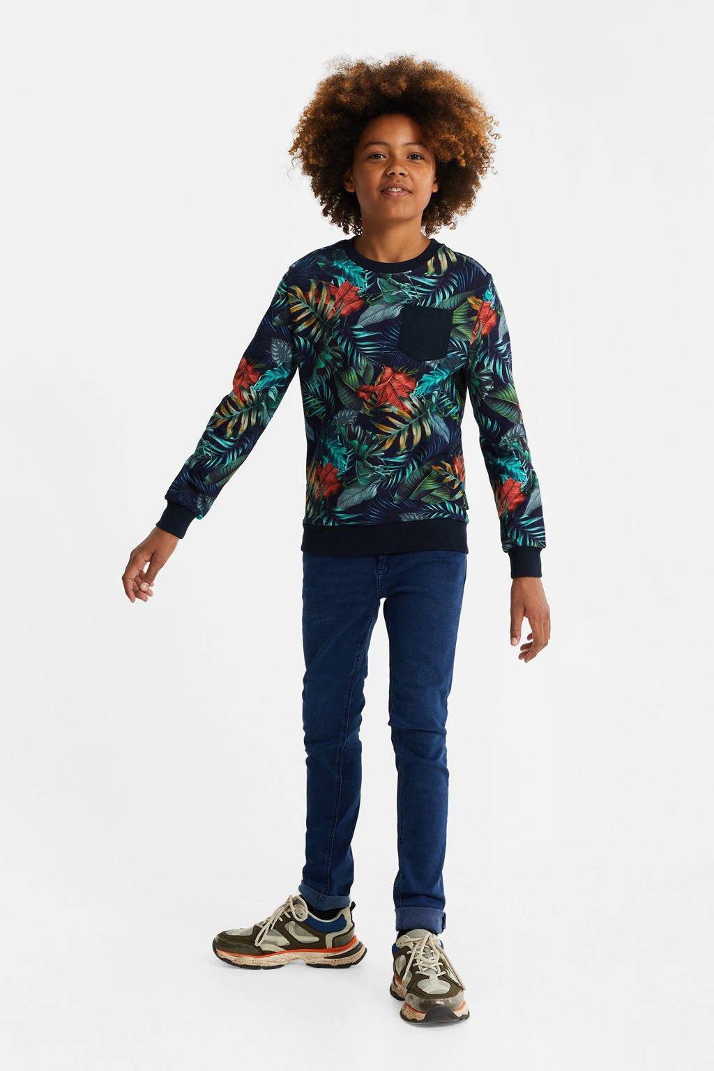 WE Fashion sweater met all over print blauw/multi, Blauw/multi