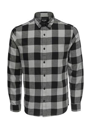 geruit regular fit overhemd grijs/zwart