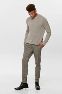 ONLY & SONS geruite slim fit pantalon beige, Beige