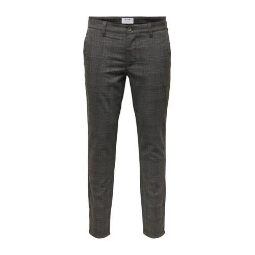ONLY & SONS geruite slim fit pantalon grijs