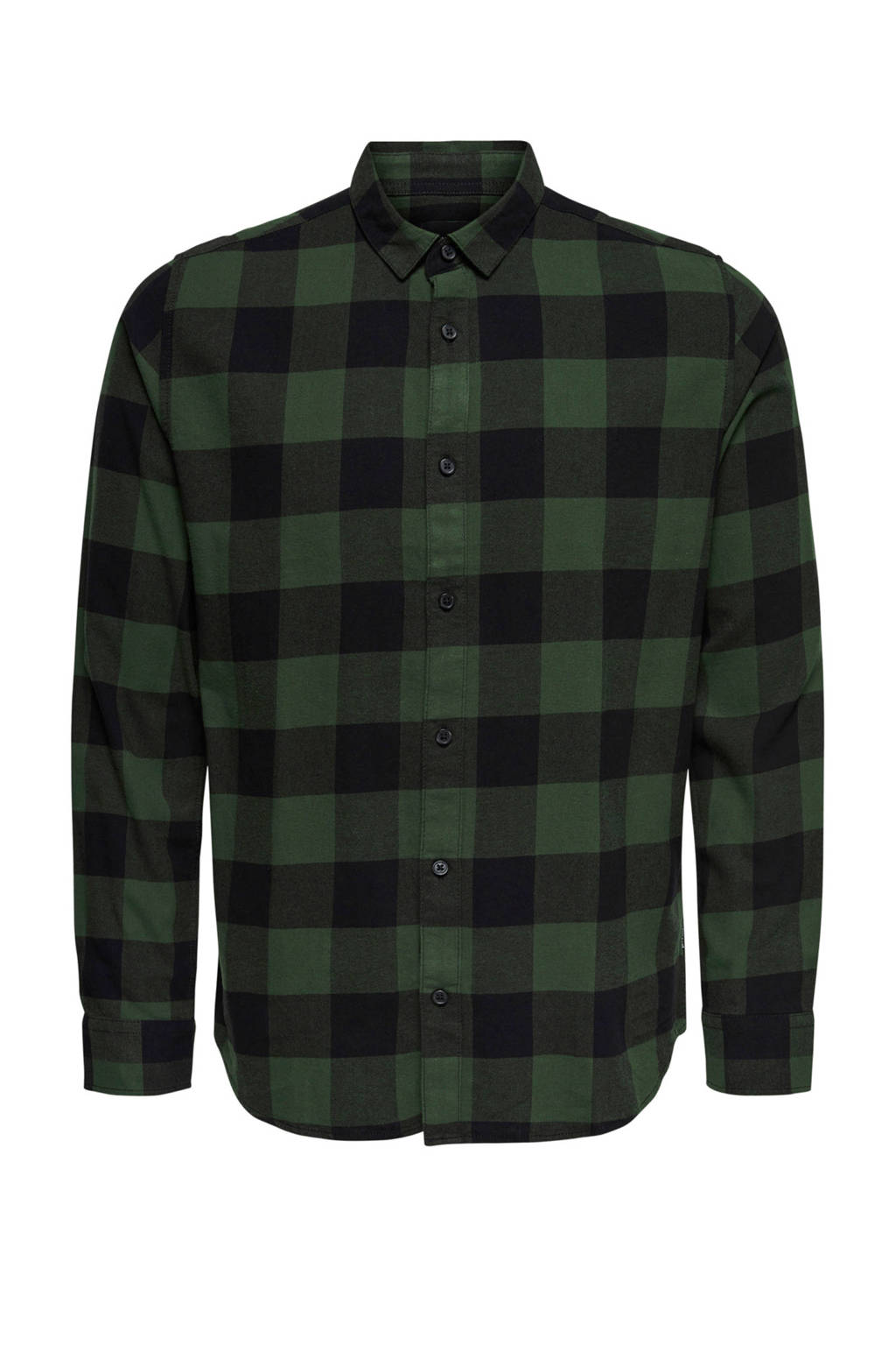 ONLY & SONS PLUS geruit regular fit overhemd donkergroen/zwart, Donkergroen/zwart