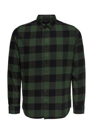 geruit regular fit overhemd donkergroen/zwart
