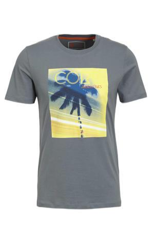 T-shirt met printopdruk grijsblauw