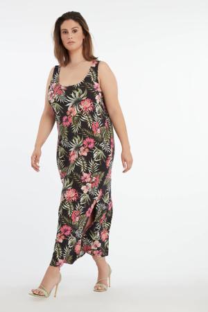 gebloemde jurk zwart/roze/groen