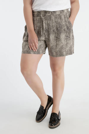 loose fit short met all over print beige/zwart