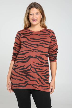 fijngebreide trui met zebraprint roodbruin