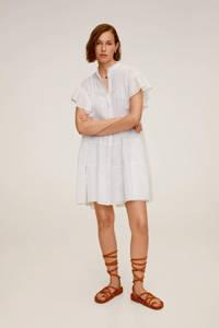 Mango jurk met ruches gebroken wit, Gebroken wit