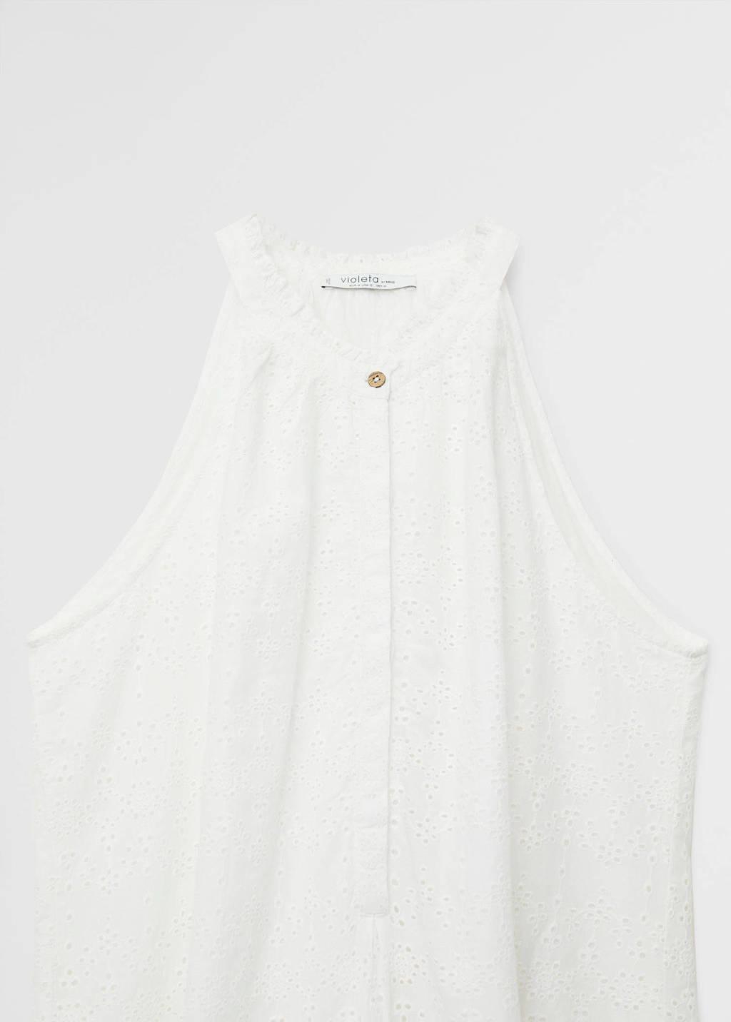 Violeta by Mango halter jurk met borduursels wit, Wit