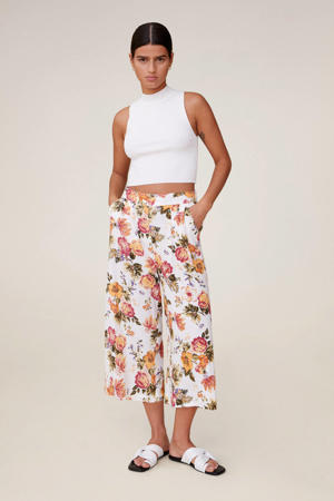gebloemde straight fit culotte wit/multi