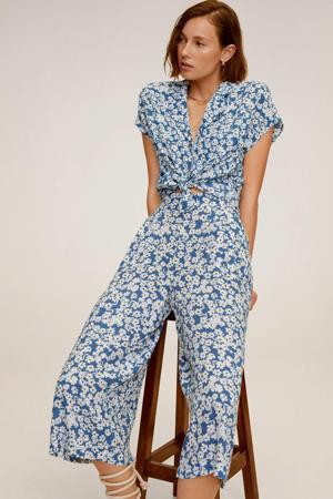 gebloemde straight fit culotte blauw