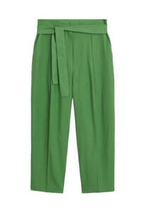 Mango cropped high waist straight fit pantalon groen, Groen