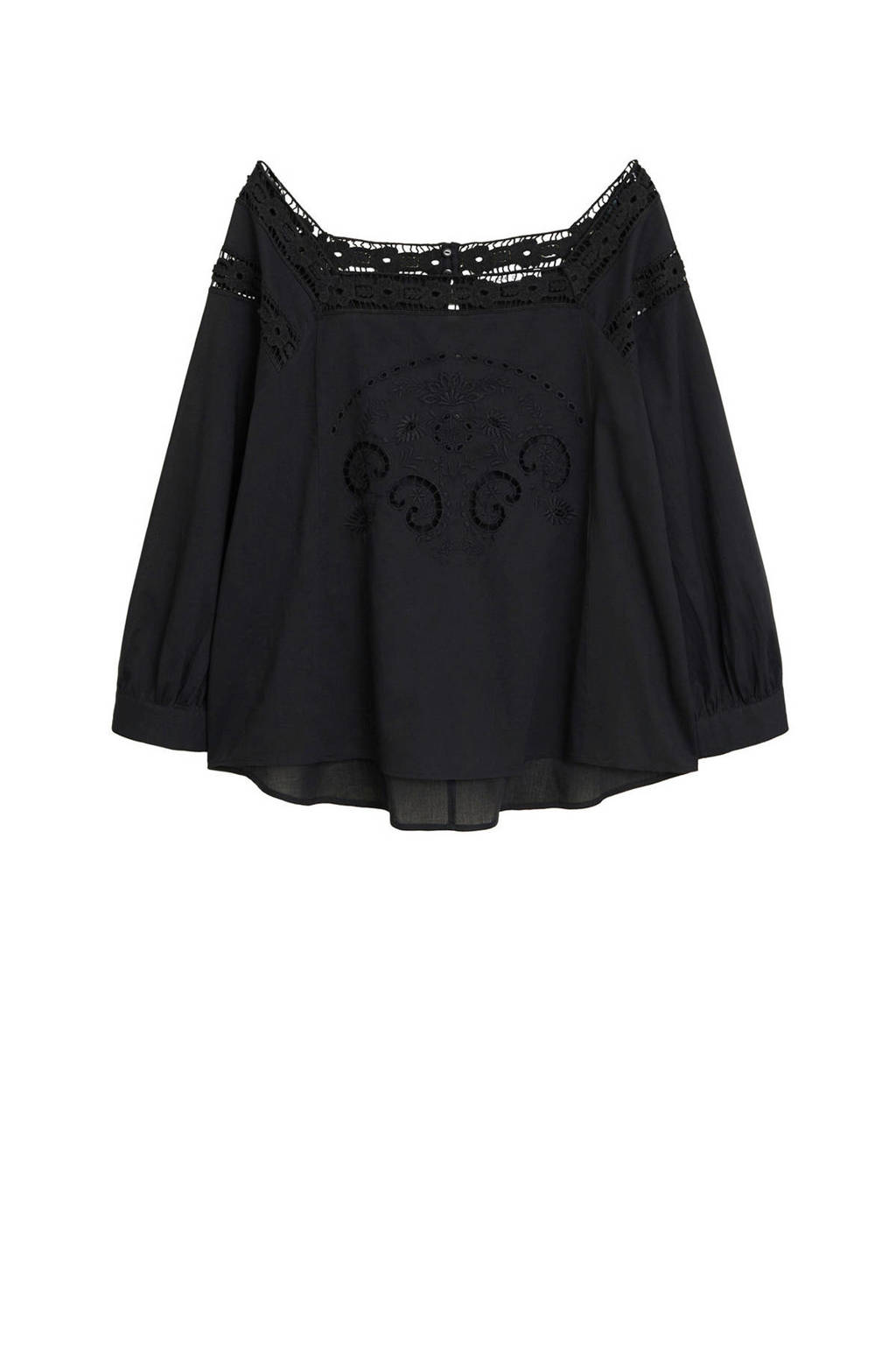Violeta by Mango semi-transparante geweven off shoulder top met borduursels zwart, Zwart