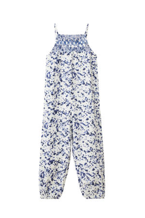 jumpsuit met all over print naturel wit/blauw
