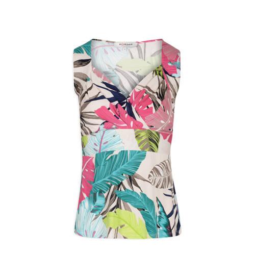 Morgan top met bladprint wit/ roze