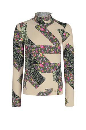 longsleeve Culla met all over print en plooien beige/donkergroen/roze