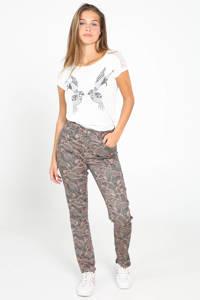Cassis slim fit broek met all over print kaki/multi, Kaki/Multi
