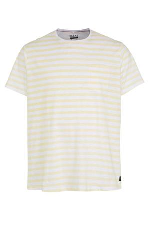 gestreept T-shirt lichtgeel/wit