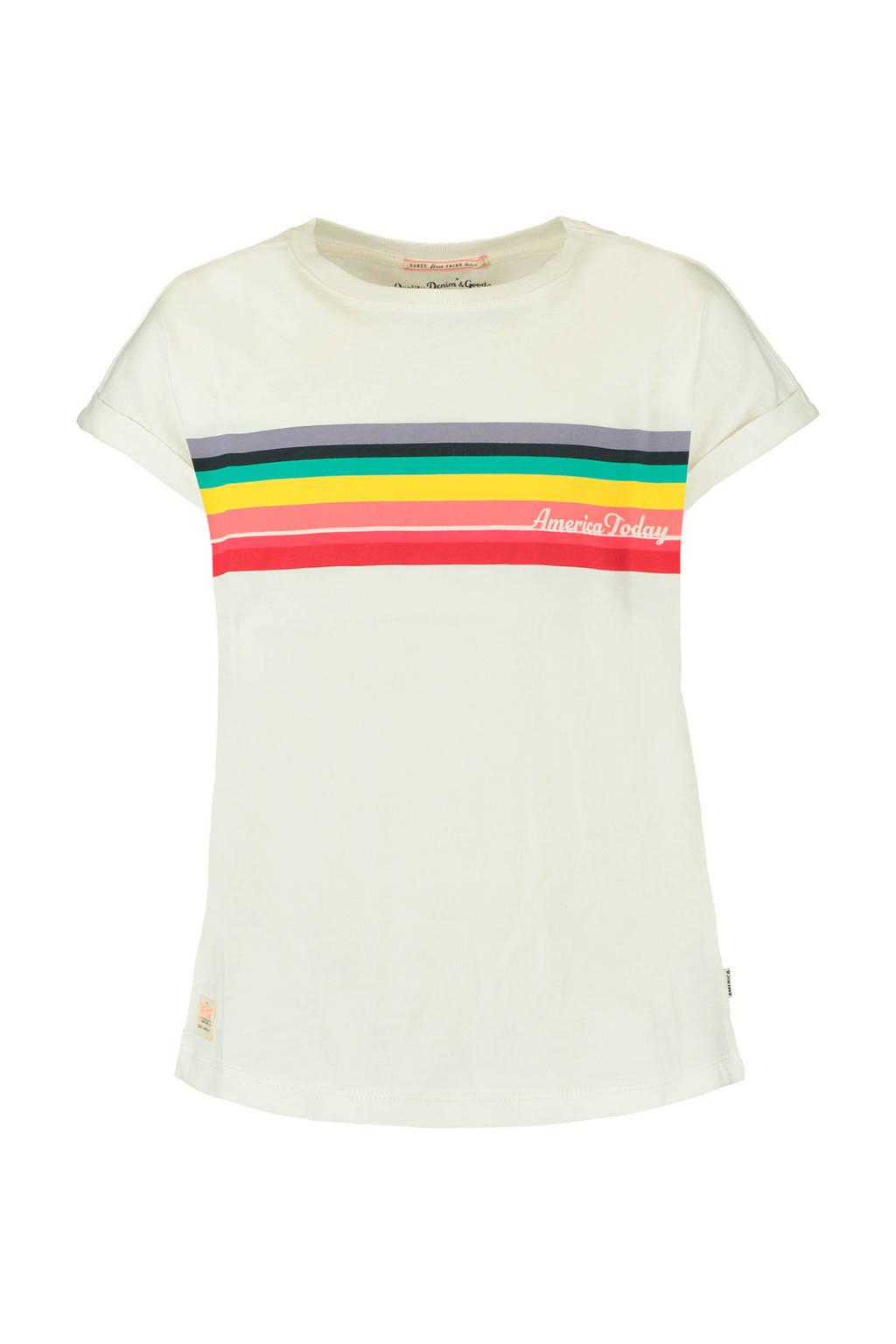 America Today Junior T-shirt Elvy met printopdruk beige/rood/geel, Beige/rood/geel