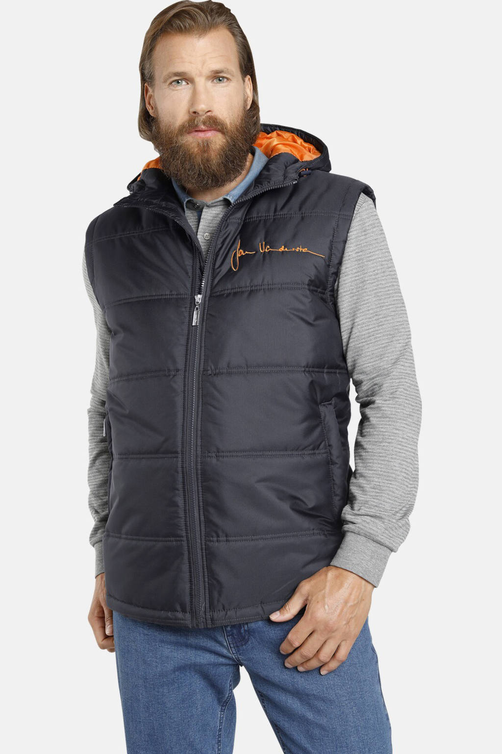 Jan Vanderstorm bodywarmer Plus Size Nithard donkerblauw/oranje, Donkerblauw/oranje