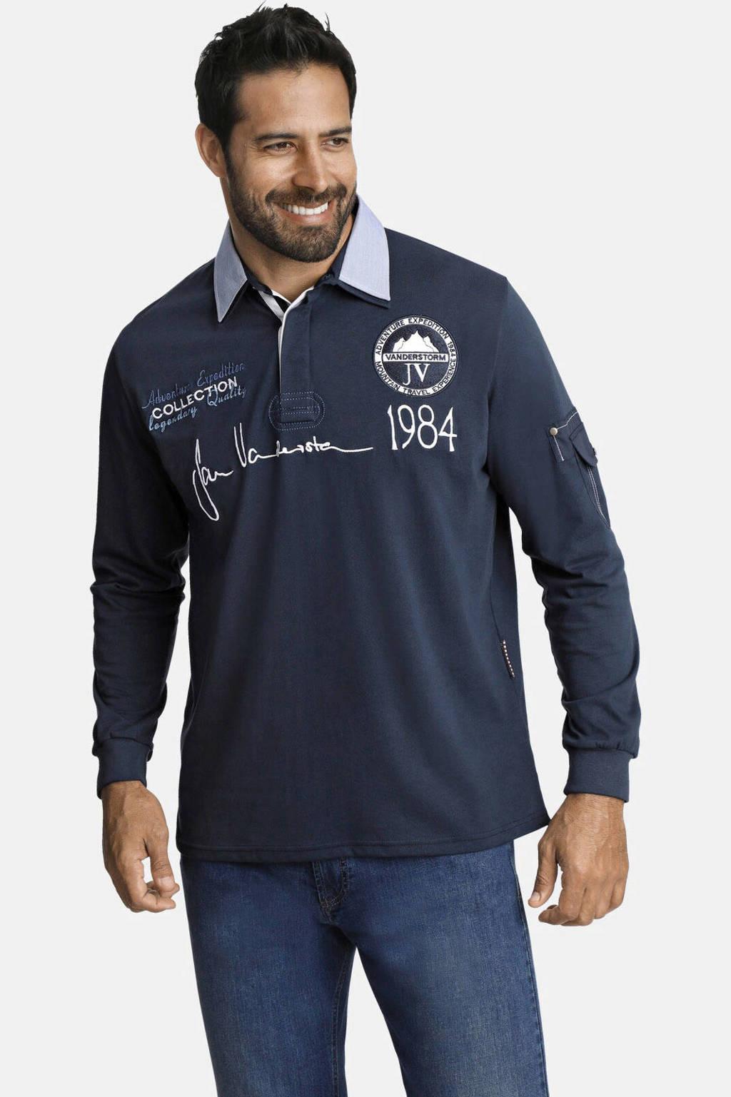 Jan Vanderstorm loose fit polo met printopdruk donkerblauw, Donkerblauw