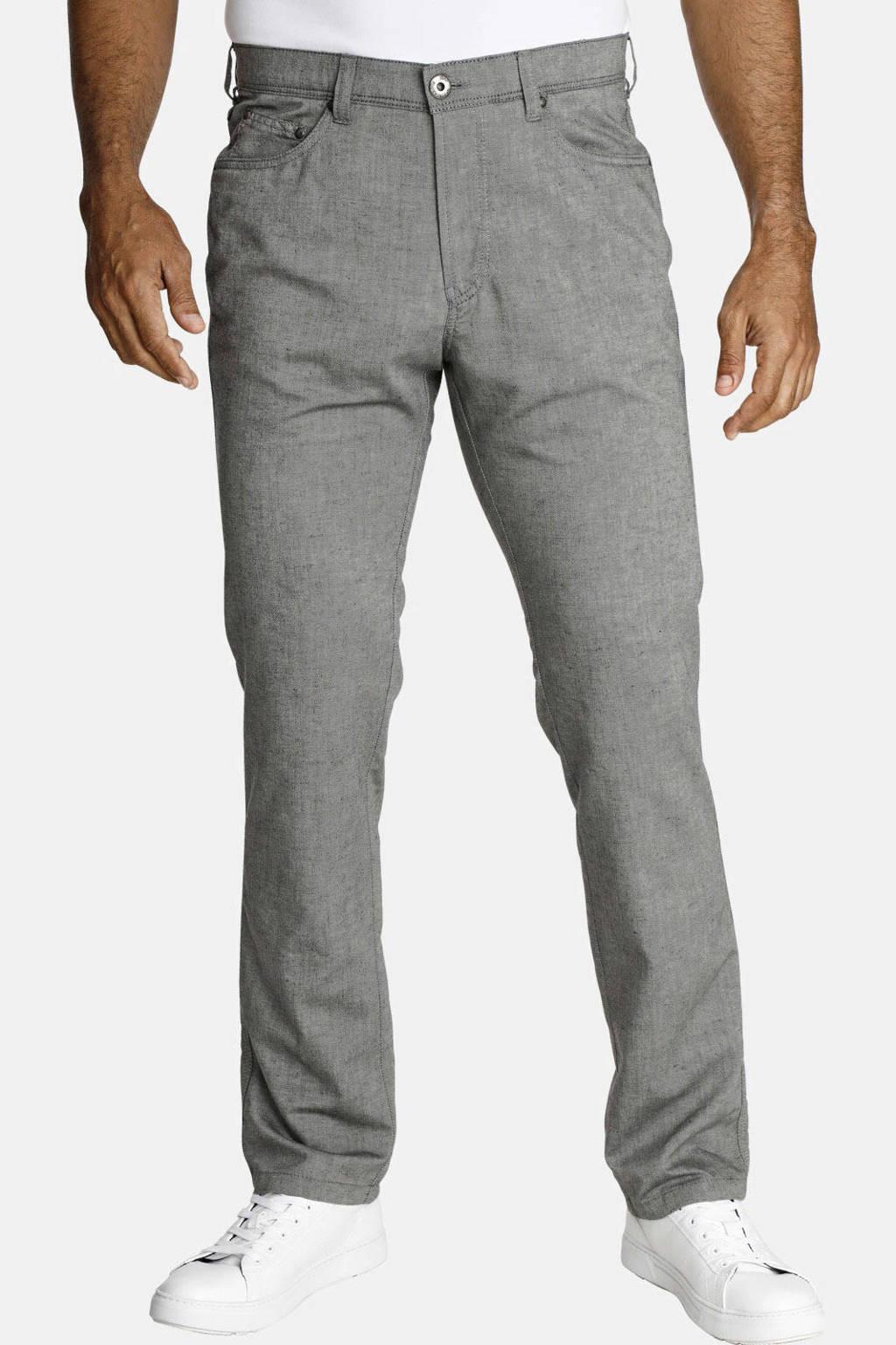 Jan Vanderstorm straight fit broek Plus Size Rikvald lichtgrijs, Lichtgrijs