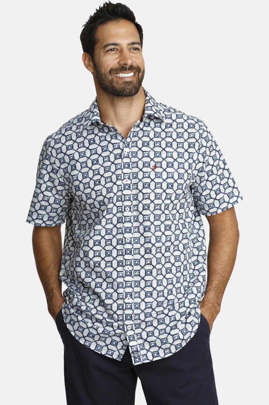 Jan Vanderstorm loose fit overhemd Plus Size Bent met all over print blauw/wit, Blauw/wit