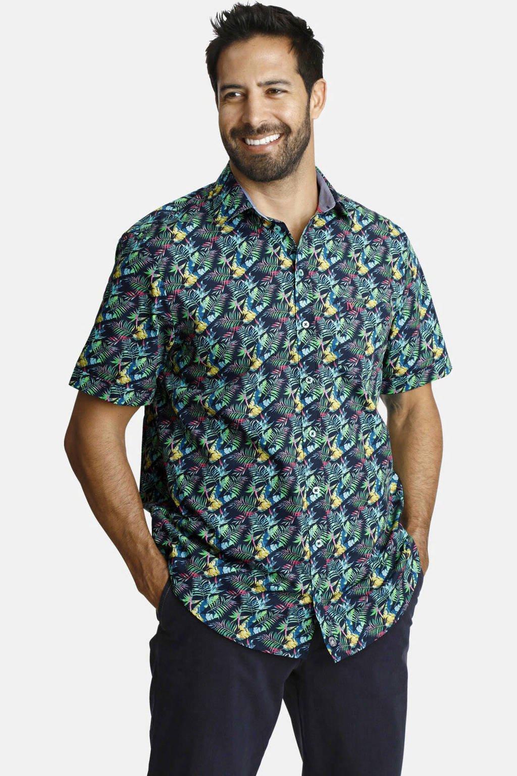 Jan Vanderstorm loose fit overhemd Plus Size Tycho met all over print donkerblauw/geel, Donkerblauw/geel