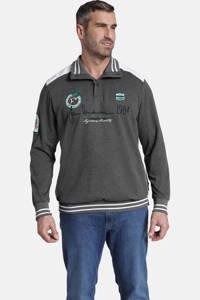 Jan Vanderstorm oversized fit sweater Plus Size Mile met contrastbies donkergrijs, Donkergrijs