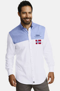 Jan Vanderstorm loose fit overhemd Plus Size BJARNI wit/blauw, Wit/blauw