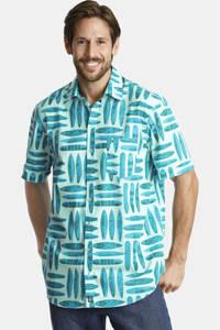 Jan Vanderstorm loose fit overhemd Plus Size KYRE met all over print lichtgroen, Lichtgroen
