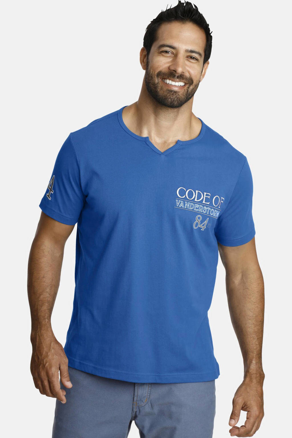 Jan Vanderstorm T-shirt Plus Size Ingomar met printopdruk kobaltblauw, Kobaltblauw