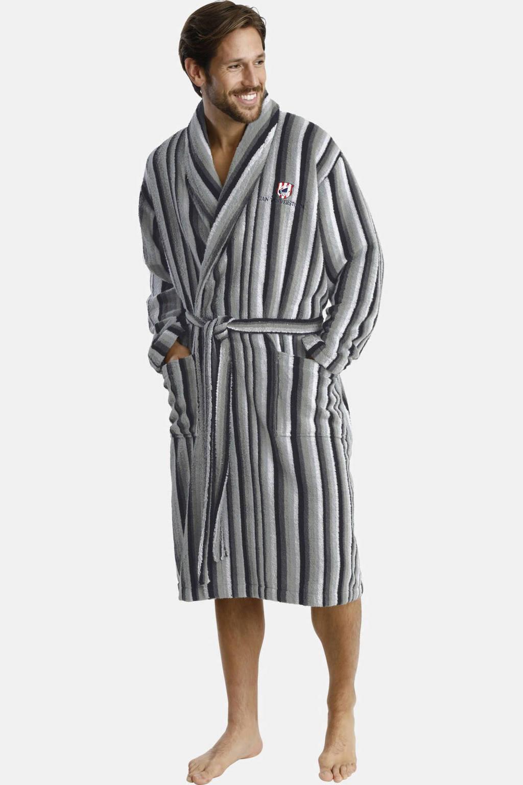 Jan Vanderstorm Plus Size gestreepte badstof badjas grijs/wit, Grijs/wit